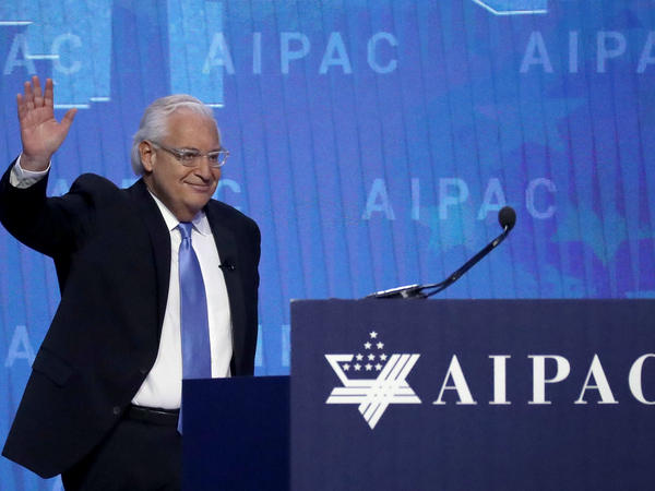 U.S. Ambassador to Israel David Friedman addresses the American Israel Public Affairs Committee on March 6.