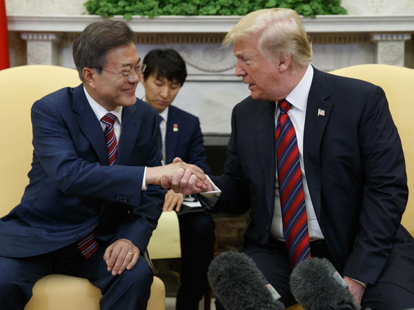 President Trump meets with South Korean President Moon Jae-in on Tuesday in the Oval Office of the White House.