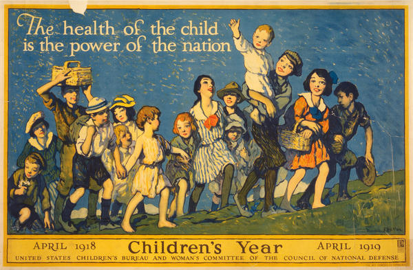 A poster put out by the U.S. Children's Bureau in 1918.