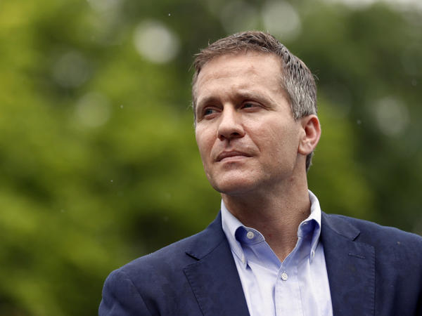 Eric Greitens, pictured earlier this month, announced his resignation Tuesday as governor of Missouri. The Republican, who is facing an extramarital affair scandal and allegations of campaign finance violations, will step down effective Friday.
