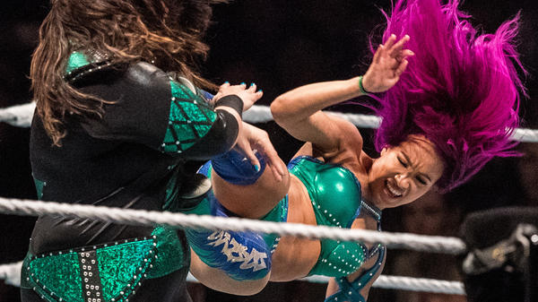 Sasha Banks (shown here at a WWE Live Duesseldorf event in 2017 in Duesseldorf, Germany) is the subject of a new song by The Mountain Goats.