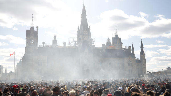 Canada's House of Commons voted to legalize recreational marijuana use, sending the bill to the Senate. In this photo from April 20, smoke rises during the annual 4/20 marijuana rally on Parliament Hill in Ottawa, Ontario.