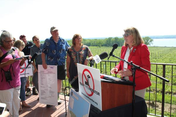 Finger Lakes area state Sen. Pam Helming (R-Canandaigua) rallies a group opposed to the construction of a trash incinerator in Seneca County.