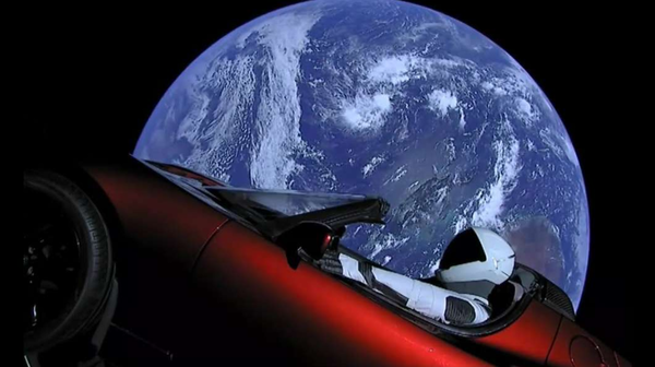 """""""Starman"""" after launching on a Falcon Heavy rocket."""