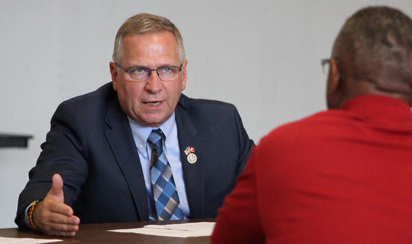 U.S. Rep. Mike Bost meets with constituents in East St. Louis in this photo from June 2018.