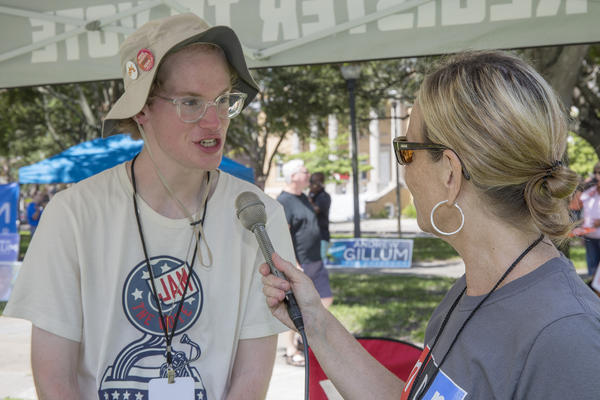 WUSF's Cathy Carter interviews Tom Bergan, who is with Headcount.org and registering voters at the Road To Change events.