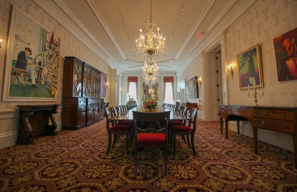 The formal dining room in the Governor's Mansion. The table seats 24.