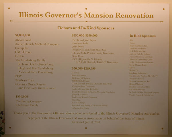 Renovation of the Governor's Mansion is said to have been completed with only privately raised funds. This donor plaque is just inside the entrance to the new visitors' center.