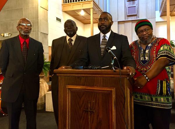 Members of the West Dayton Clergy Community Coalition, from left: Robert Jones, David K. Greer, Rev. Rockney Carter, Bishop Richard Cox and Richard Clay Dixon.