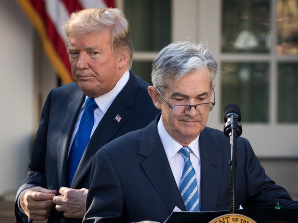 "President Trump looks on as his nominee for Federal Reserve chairman, Jerome Powell, speaks at the White House on Nov. 2. On Thursday, Trump said he is ""not thrilled"" about Fed interest rate hikes."