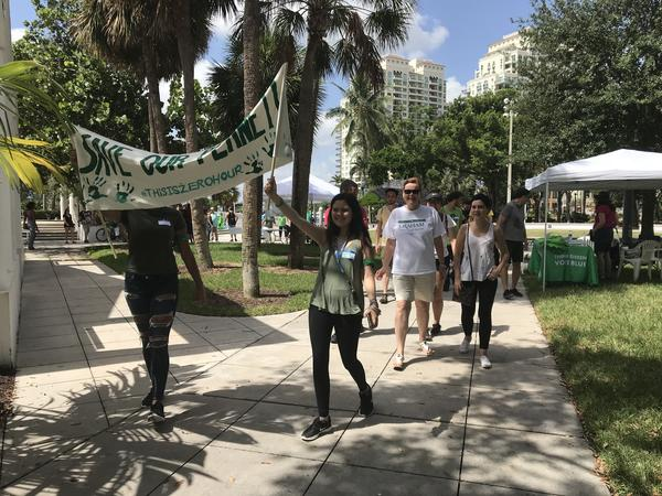 Students led the march to Fort Lauderdale City Hall, from Esplande Park on Saturday July 21, 2018.