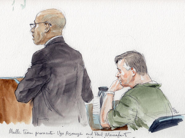 Mueller team prosecutor Uzo Asonye (left) argued against delaying the trial of Paul Manafort at pre-trial hearing Monday.