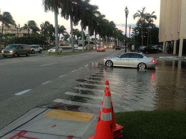 Tidal flooding along Las Olas Boulevard in Fort Lauderdale.
