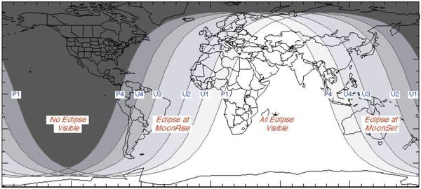 NASA has provided a map of where the eclipse will be visible.
