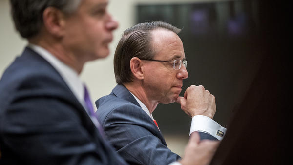 Deputy Attorney General Rod Rosenstein (right) and FBI Director Christopher Wray (left) appeared before the House Judiciary Committee on June 28. Some members complain they are stonewalling.