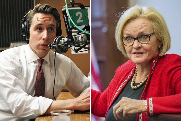Left: Missouri Attorney General and U.S. Senate candidate Josh Hawley, Republican. Right: Sen. Claire McCaskill, Democrat.