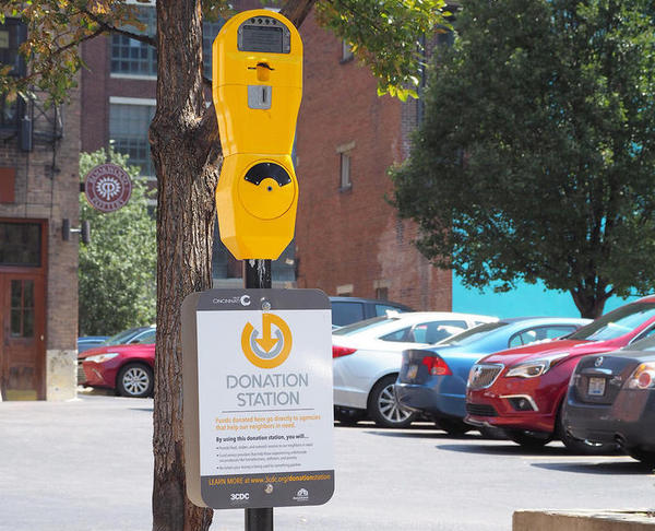 The stations are part of a broader strategy, called GeneroCity 513, to reduce aggressive panhandling in the Central Business District.