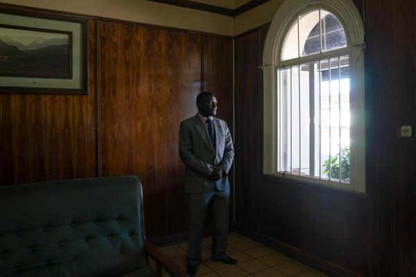 National Railways of Zimbabwe spokesman Nyasha Maravanyika stands in the Bulawayo train station.