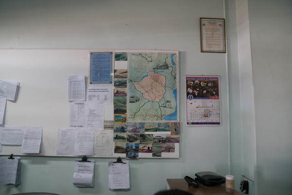 The National Railways of Zimbabwe system map hangs in the office at the Bulawayo station.