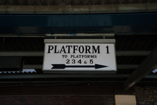 A sign hangs from the train station roof in Bulawayo.