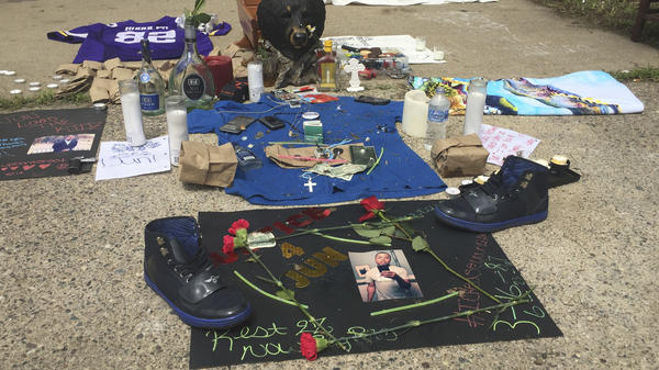 A memorial for Thomas Blevins Jr. was set up on June 25 in the alley where he was shot and killed two days earlier by Minneapolis police. On Monday, the district attorney announced he would not be charging the officers in Blevins' death.