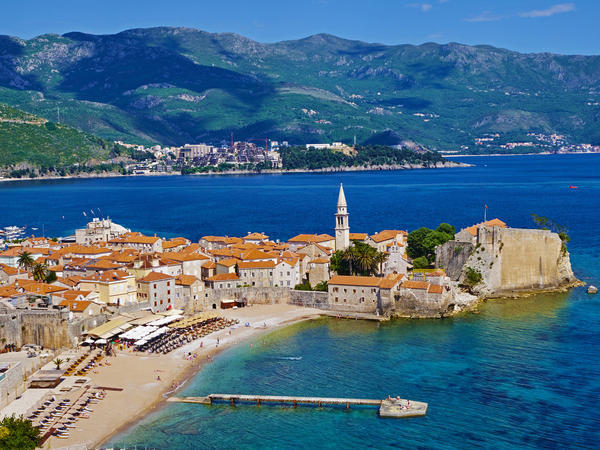 The old town area of Budva, a seaside town in Montenegro.