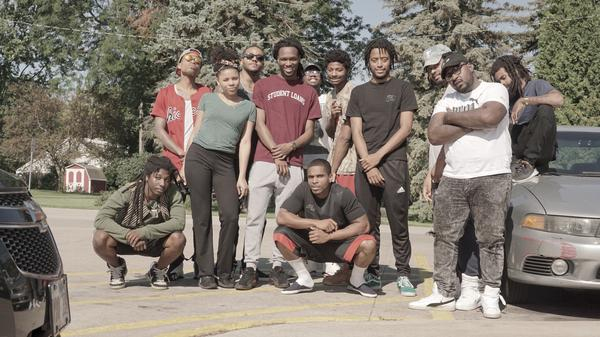 """The day Frsh Waters (bottom center) got out of prison, he met up with Pivot Gang and friends in Chicago. """"We played basketball like it was just a regular day,"""" he says. """"It was like nothing ever changed."""""""