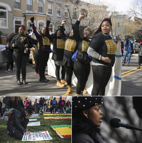 """(Top) A group of young demonstrators heads from a Black Lives Matter DC gathering to the """"March for Our Lives"""" in Southeast D.C. On their way, they chanted, """"When black lives are under attack, what do we do? Stand up. Fight back."""" (Bottom right) Lauren Renford speaks at the Rally for DC Lives in Folger Park."""