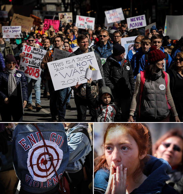 """(Top) Students and anti-gun protesters rally in Washington, D.C. (Bottom left) """"I was looking at photos from the Black Lives Matter movement and I saw a picture of a man with a bullseye on his chest--that really inspired me. We shouldn't see other people as targets,"""" said Sophie Colson of her """"End Gun Violence"""" jacket. (Bottom right) Ava Amirkhalili, 15, of Bethesda, Md., listened intently."""