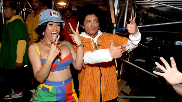 Cardi B and Bruno Mars backstage at the 60th Annual Grammy Awards in New York City on January 28, 2018.