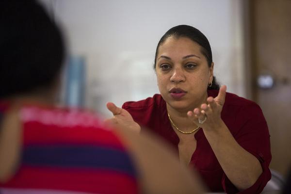 Olga Guerrero is a social worker for the Lowell Public School District. (Jesse Costa/WBUR)