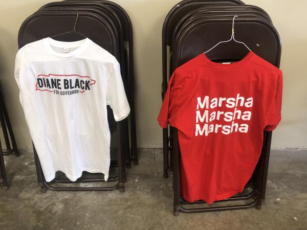 Campaign swag for Tennessee Reps. Diane Black and Marsha Blackburn is on display at the Shelby County Republican Party headquarters.