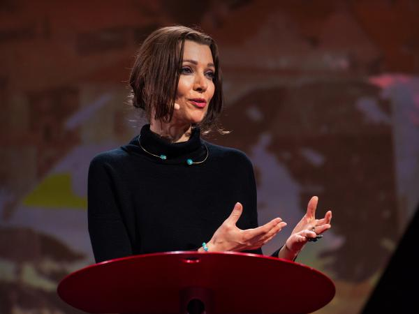 Elif Shafak on the TED Stage.