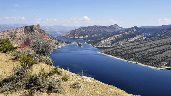 Flaming Gorge reservoir in Wyoming and Utah impounds the Green River, a main tributary of the Colorado.