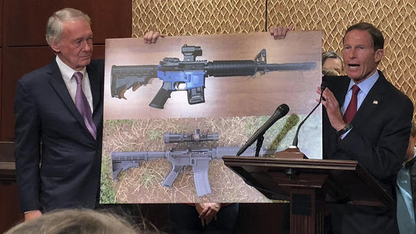 "Sens. Edward Markey, D-Mass., left, and Richard Blumenthal, D-Ct., display a photo of a plastic gun Tuesday, as they call for President Trump to reverse an administration decision to allow a Texas company to make blueprints for a 3D-printed gun available online. Trump announced over Twitter that he is ""looking into"" the sale of 3D plastic guns to the public."