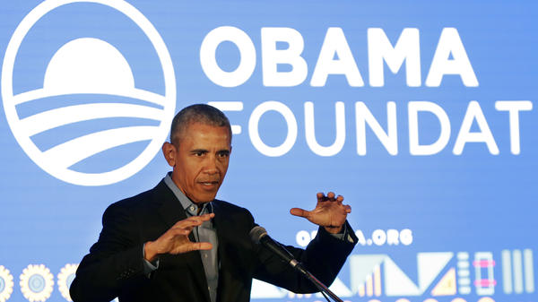 Former President Barack Obama speaks during his town hall for the Obama Foundation at the African Leadership Academy in Johannesburg, South Africa, last month.