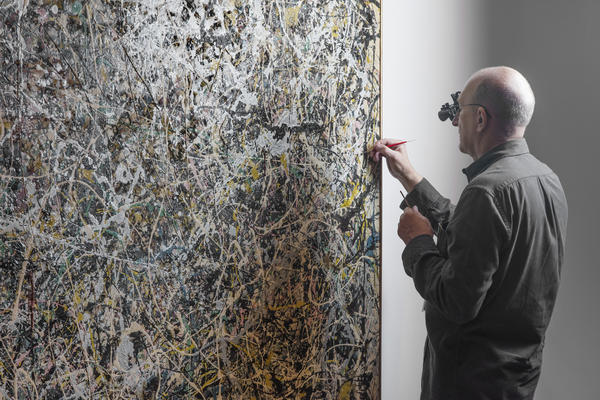 From March 4 to September 3, conservator Chris Stavroudis is part of the exhibition <em>Jackson Pollock's Number 1, 1949: A Conservation Treatment</em> at The Museum of Contemporary Art, Los Angeles.