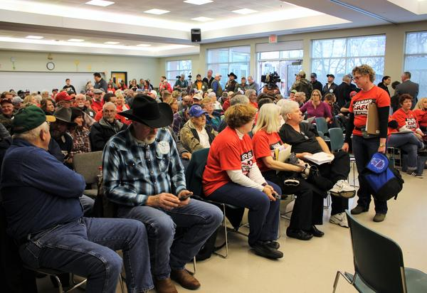A packed house in early April, when opponents of the Valley Oaks Steak Company expansion bid showed up to talk to the state Department of Natural Resources.
