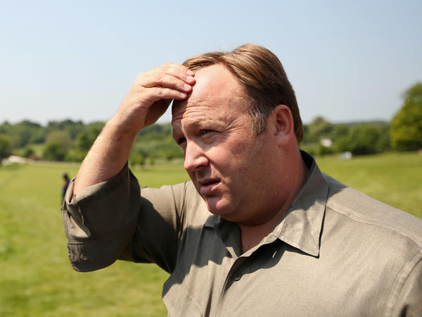 Conspiracy theorist Alex Jones in Watford, England in 2013.