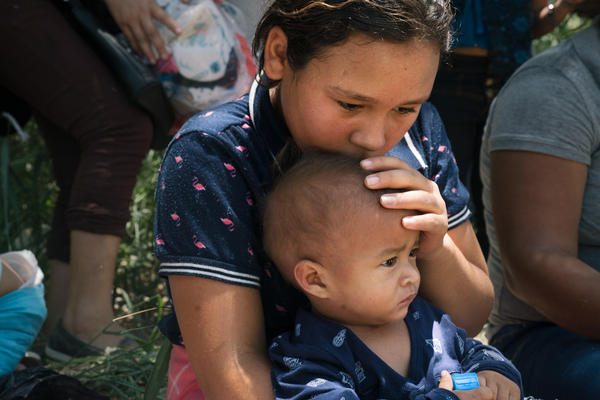 Davi Tatiana Chirino-Santos, 9, and her baby brother, Arnold Jafer Lopez-Santos, crossed with their mother, Jessica Carolina Santos Lopez. Though the journey was long, Chirino-Santos is looking forward to creating a better life in the U.S. She wants to study to be a doctor.