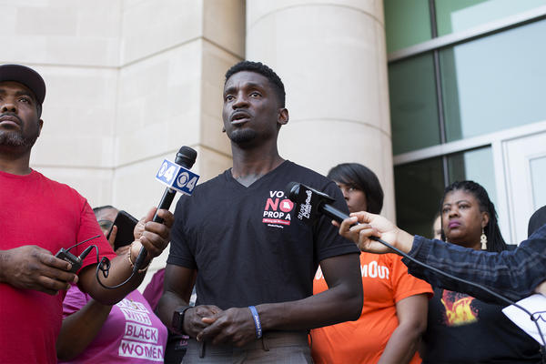 Rep. Bruce Franks Jr. holds a press conference with community leaders, asking for the pardon of Joshua Williams.