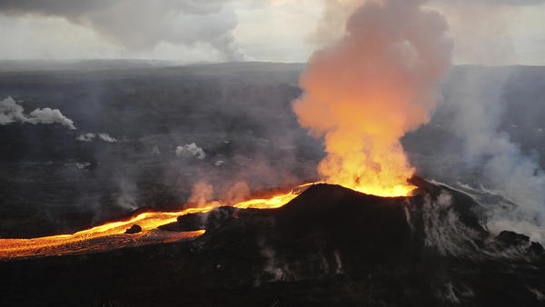 Lava from Kilauea's last remaining active fissure erupts in what used to be the Leilani Estates neighborhood, near Pahoa, Hawaii, on July 14.