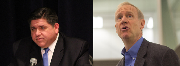 Democratic gubernatorial nominee J.B. Pritzker, left, is urging Republican Gov. Bruce Rauner, right, to sign a bill intended to fight pay inequity between men and women.