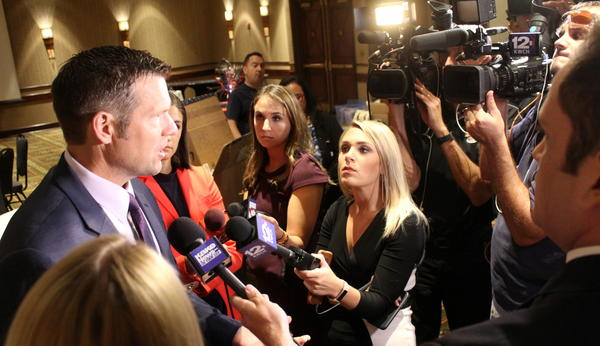 Kris Kobach met with reporters before the election results came out Tuesday.
