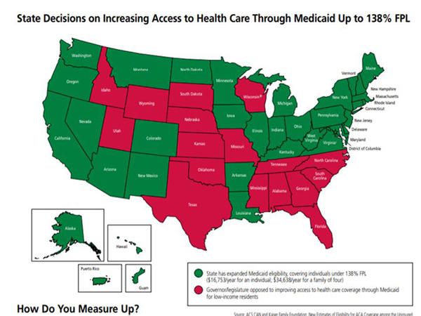The state received poor marks for access to health care because it did not expand Medicaid.