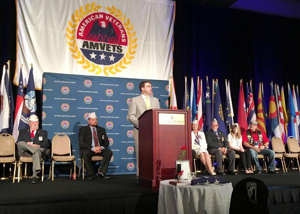 VA Secretary Robert Wilkie addresses the annual AMVETS conference in Orlando on Wednesday.