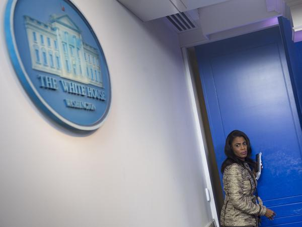 "Omarosa Manigault Newman, when she was still a White House staffer. She has since written a book about her time with the Trump administration, which prompted President Trump to call her a ""lowlife"" on Twitter."