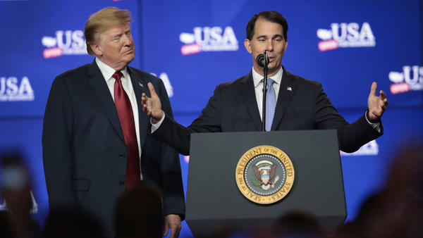 President Trump and Wisconsin Gov. Scott Walker participate in a groundbreaking ceremony for the $10 billion Foxconn factory complex in June.