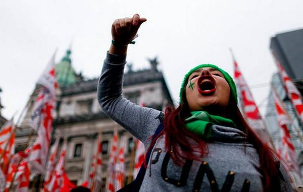 An Argentine woman marches in support of an abortion rights law outside the Congress building in Buenos Aires last week.