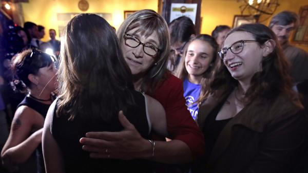 Vermont Democratic gubernatorial nominee Christine Hallquist embraces a supporter. Hallquist became the first openly transgender person to win a major party nomination for governor.